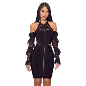 Lace Sleeve Cut Out Shoulder Bandage Dress #